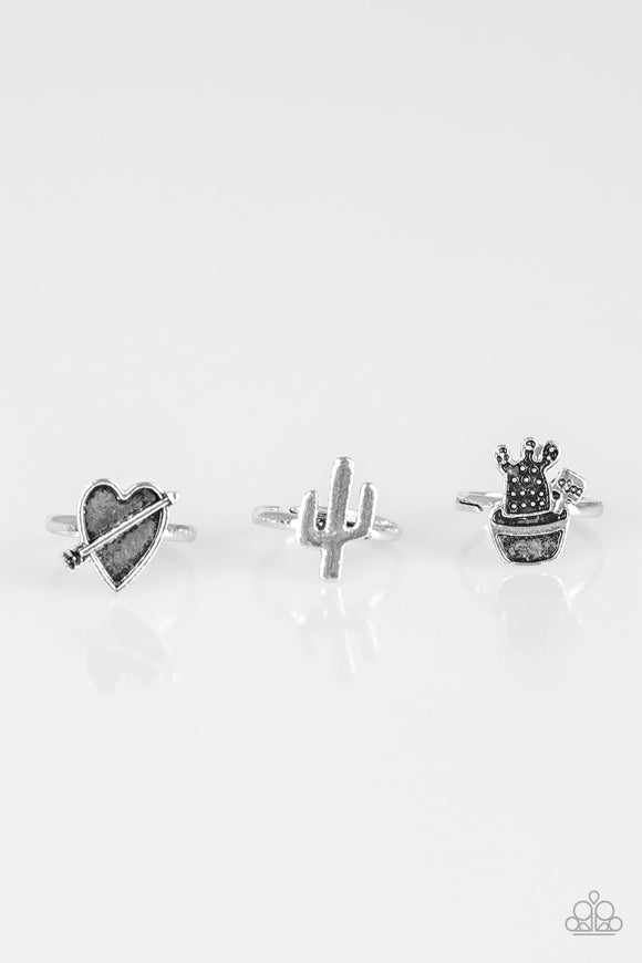 Paparazzi Starlet Shimmer Cactus Heart Arrow Leaf Butterfly Silver Rings-Set of 5 Paparazzi Jewelry