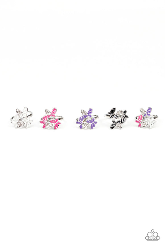 Girl's Starlet Shimmer 186XX Multi-Color Silver Butterfly Set of 5 Rings Paparazzi Jewelry