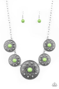 "Paparazzi ""Hey, SOL Sister"" Green Bead Silver Circular Frame Necklace & Earring Set Paparazzi Jewelry"