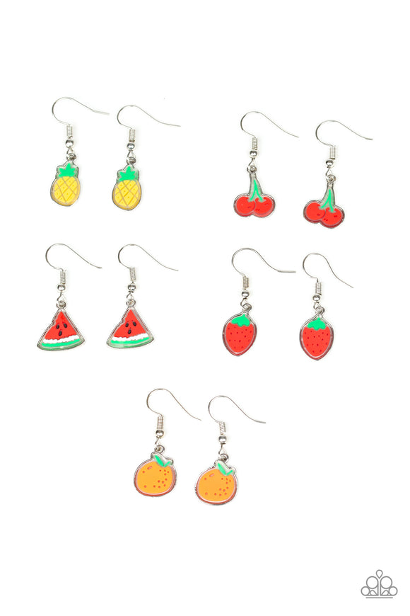Girl's Starlet Shimmer 189XX Fruit Watermelon Strawberry Cherry Pineapple Dangle Multicolor Earrings Paparazzi Jewelry
