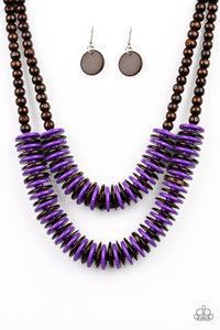 "Paparazzi ""Dominican Disco"" Purple and Brown Wooden Bead and Disc Necklace & Earring Set Paparazzi Jewelry"