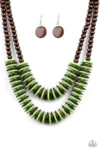 "Paparazzi ""Dominican Disco"" Green and Brown Wooden Bead and Disc Necklace & Earring Set Paparazzi Jewelry"