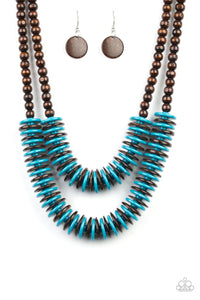 "Paparazzi ""Dominican Disco"" Blue and Brown Wooden Bead and Disc Necklace & Earring Set Paparazzi Jewelry"