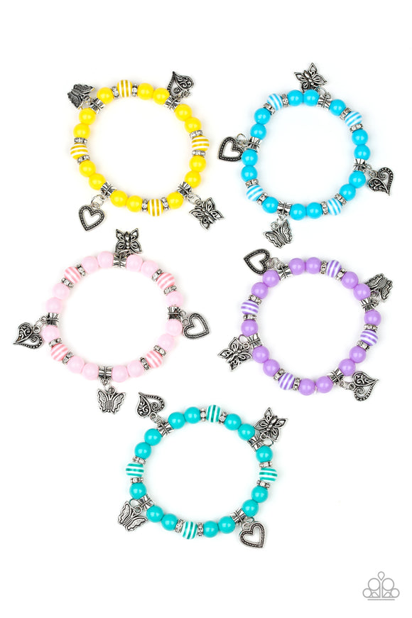 Girl's Starlet Shimmer Multi Color Heart Butterfly Charm Set of 5 Bracelets Paparazzi Jewelry