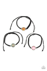 Girls Multi Color Silver Charm Black Pull Cord Starlet Shimmer Bracelets Set of 5 Paparazzi Jewelry