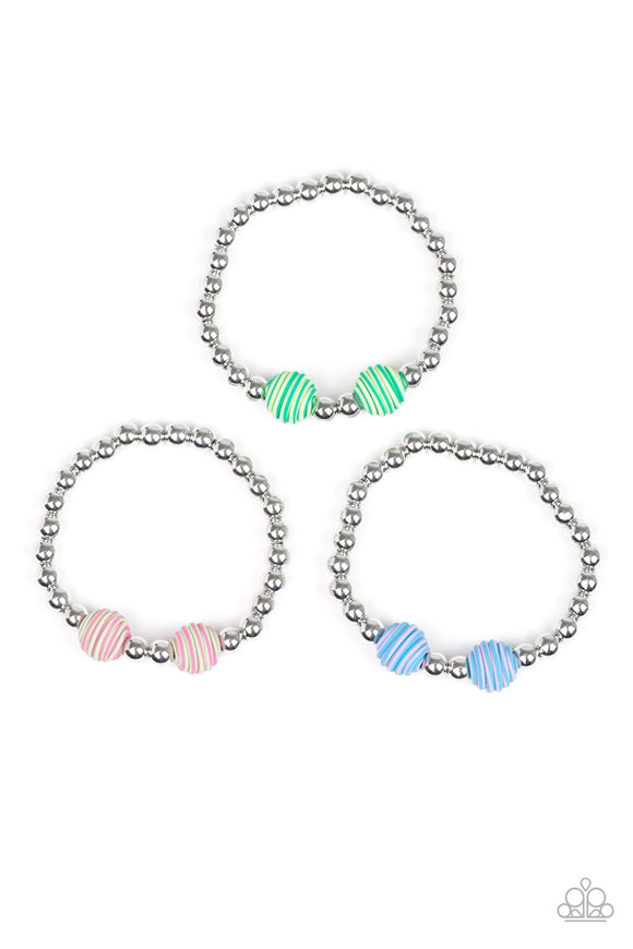Girl's Starlet Shimmer 161XX Multi Color and Silver Bead Set of 10 Bracelets Paparazzi Jewelry