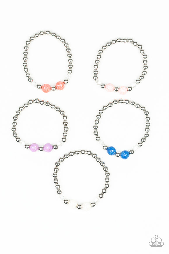 Girls Multi Color Crackle & Silver Bead Starlet Shimmer 157XX Bracelets Set of 5 Paparazzi Jewelry