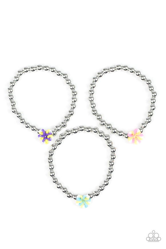 Girls Multi Color & Silver Bead Flower Charm Starlet Shimmer Bracelets Set of 5 Paparazzi Jewelry
