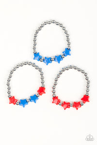 Girls Multi Color Starlet Shimmer Bracelets Red White & Blue Star Silver Bead Set of 5 Bracelets Paparazzi Jewelry