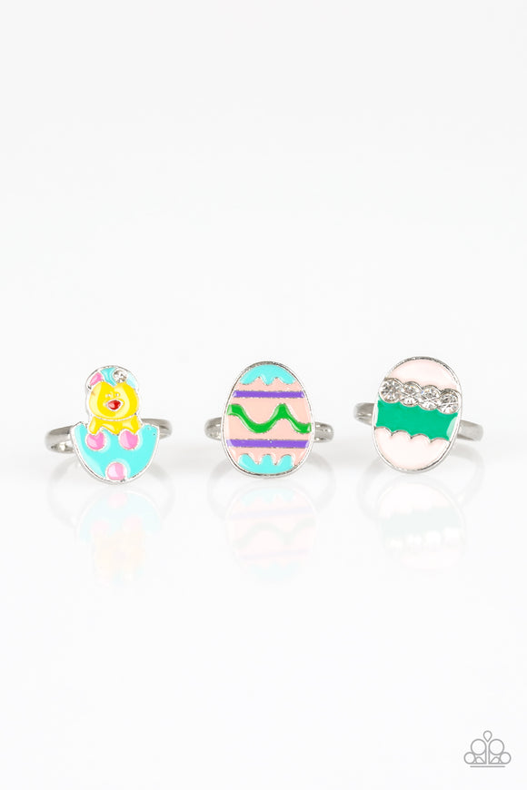 Girl's Starlet Shimmer Set of 5 Multi Color Easter Bunny Egg Chick Carrot Pearl & Rhinestone Rings Paparazzi Jewelry