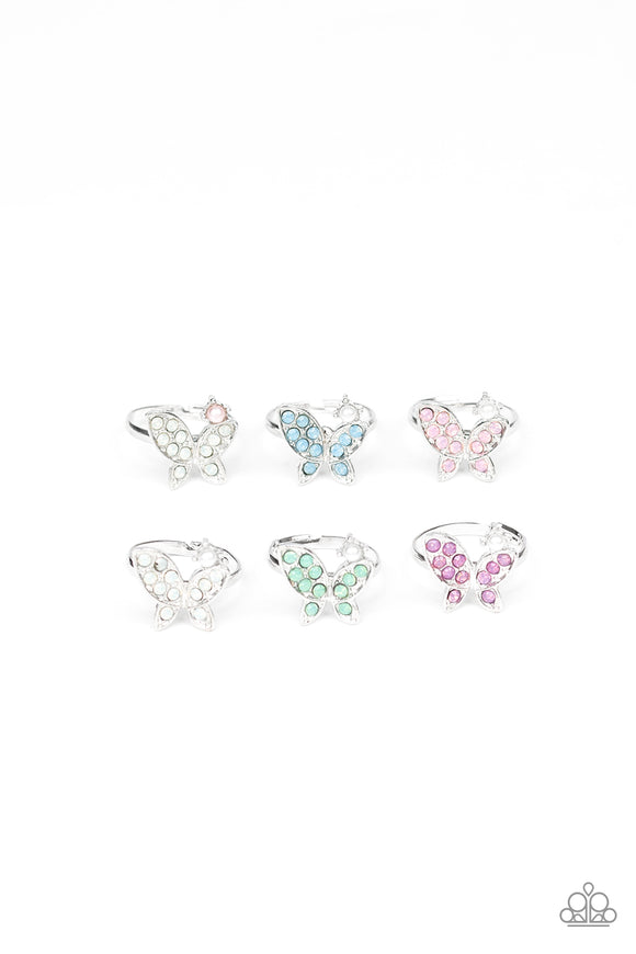 Girl's Starlet Shimmer Set of 5 192XX Multi Color Silver Rhinestone Pearl Butterfly Rings Paparazzi Jewelry