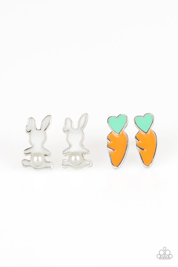 Girl's Starlet Shimmer Set of 5 Multi Color Easter Bunny Egg Chick Carrot Pearl & Rhinestone Silver Post Earrings Paparazzi Jewelry