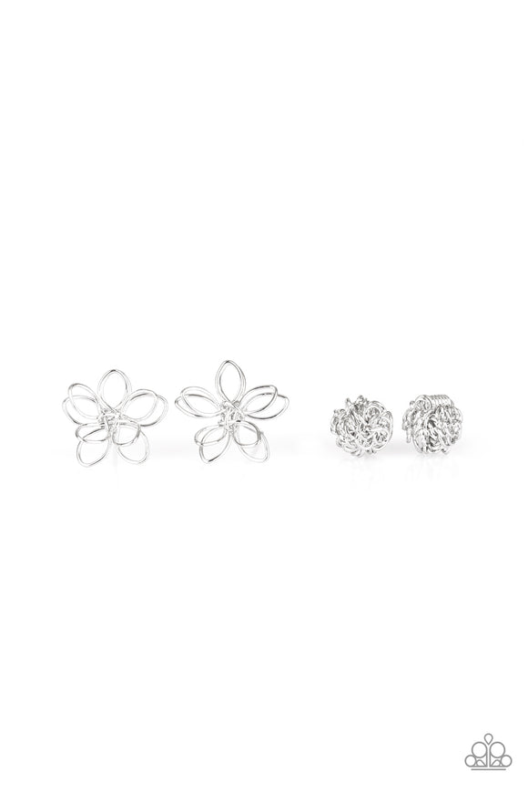 Girl's Starlet Shimmer Set of 5 Silver Wire Design Flower Yarn Ball Bow Post Earrings Paparazzi Jewelry