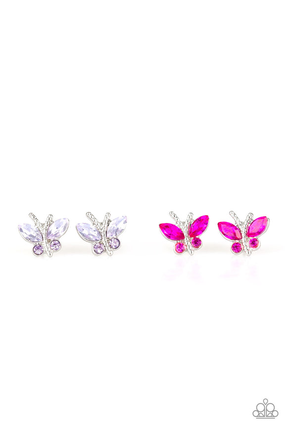 Girl's Starlet Shimmer Set of 5 Multi Color Rhinestone Butterfly Silver Post Earrings Paparazzi Jewelry