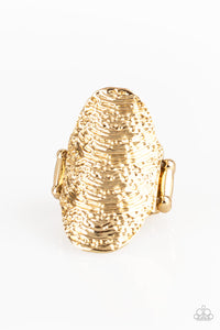 "Paparazzi ""Record-Breaking Ripple"" Gold Textured High Sheen Finish Ring Paparazzi Jewelry"