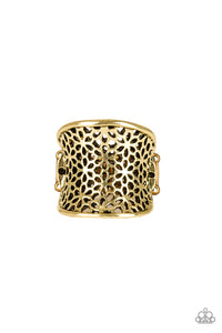 "Paparazzi ""Garden Safari"" Brass Floral Pattern Ring Paparazzi Jewelry"
