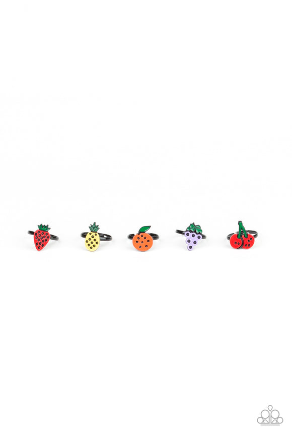 Girl's Starlet Shimmer Set of 5 Multi Color Strawberry Pineapple Orange Grapes Cherry Fruit Rings Paparazzi Jewelry