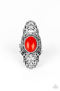 "Paparazzi ""Flair for the Dramatic"" Red Bead Heart Design Filigree Pattern Silver Ring Paparazzi Jewelry"