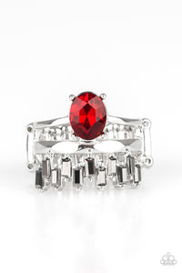 "Paparazzi ""Crowned Victor"" Red Gem White Rhinestone Silver Ring Paparazzi Jewelry"
