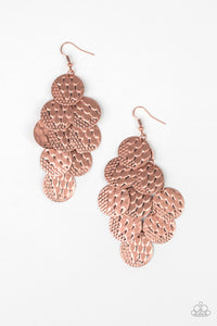"Paparazzi ""The Party Animal"" Copper Disc Antiqued Texture Earrings Paparazzi Jewelry"