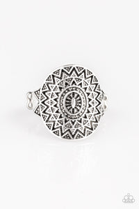 "Paparazzi ""Good For The SOL"" Silver Antiqued Sunburst Design Ring Paparazzi Jewelry"