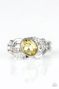"Paparazzi ""Couldnt Care FLAWLESS"" Yellow Gem Silver Ring Paparazzi Jewelry"