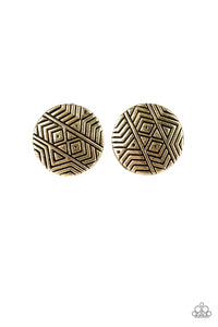 "Paparazzi ""Bright As A Button"" Brass Tribal Antiqued Round Post Earrings Paparazzi Jewelry"