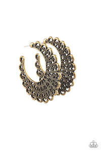 "Paparazzi ""Funky Flirt"" Brass Filigree Hoop Earrings Paparazzi Jewelry"