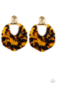 "Paparazzi ""My Animal Spirit"" Gold Colored Faux Marble Acrylic Earrings Paparazzi Jewelry"