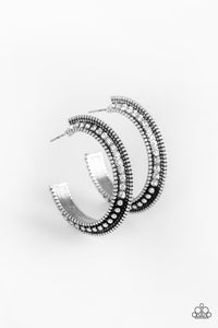 "Paparazzi ""Retro Reverberation"" White Rhinestone Encrusted Silver Hoop Earrings Paparazzi Jewelry"