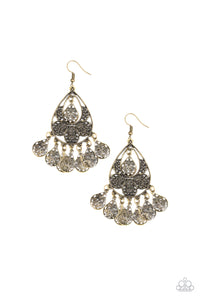 "Paparazzi ""Teardrop Tempo"" Brass Teardrop Filigree Fringe Earrings Paparazzi Jewelry"