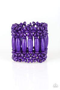 "Paparazzi ""Barbados Beach Club"" Purple Wooden Bead Stretchy Bracelet Paparazzi Jewelry"