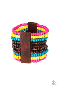 "Paparazzi ""JAMAICAN Me Jam"" Multi Color Wooden Bead Stretchy Bracelet Paparazzi Jewelry"