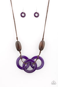 "Paparazzi ""Bahama Drama"" Purple Wooden Hoop Brown Bead Necklace & Earring Set Paparazzi Jewelry"