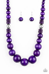 "Paparazzi ""Panama Panorama"" Purple Wooden Bead Silver Accent Necklace & Earring Set Paparazzi Jewelry"