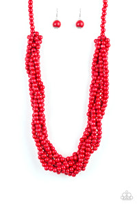"Paparazzi ""Tahiti Tropic"" Red Bead Braided Wooden Necklace & Earring Set Paparazzi Jewelry"