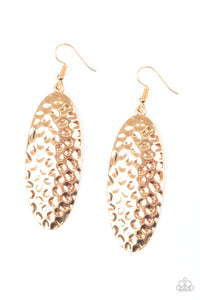 "Paparazzi ""Radiantly Radiant"" Gold Hammered Shimmery Earrings Paparazzi Jewelry"