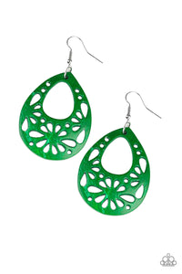 "Paparazzi ""Merrily Marooned"" Green Wooden Stenciled Floral Teardrop Earrings Paparazzi Jewelry"