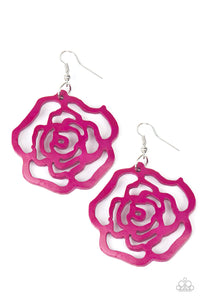 "Paparazzi ""Island Rose"" Pink Rose Stenciled Design Wood Earrings Paparazzi Jewelry"