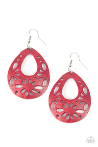 "Paparazzi ""Merrily Marooned"" Red Wooden Stenciled Floral Teardrop Earrings Paparazzi Jewelry"