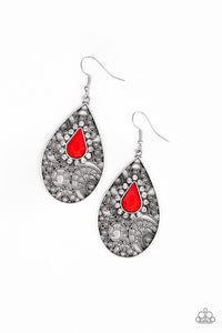"Paparazzi ""Modern Monte Carlo"" Red Teardrop Bead Silver Filigree Earrings Paparazzi Jewelry"