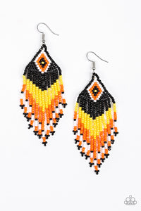 "Paparazzi ""Wind Blown Wanderer"" Yellow, Orange Black and White Seed Bead Fringe Earrings Paparazzi Jewelry"