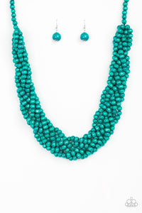 "Paparazzi ""Tahiti Tropic"" Blue Bead Braided Wooden Necklace & Earring Set Paparazzi Jewelry"