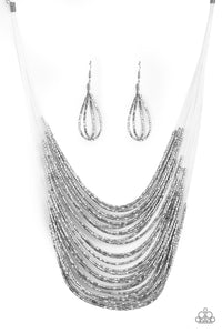 "Paparazzi ""Catwalk Queen"" Silver Metallic Seed Bead Necklace & Earring Set Paparazzi Jewelry"