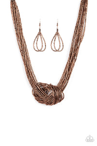 "Paparazzi ""Knotted Knockout"" Copper Metallic Seed Bead Necklace & Earring Set Paparazzi Jewelry"
