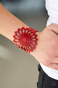 "Paparazzi ""Wildly Wildflower"" Red Stenciled Wildflower Pattern Leather Wrap Bracelet Paparazzi Jewelry"