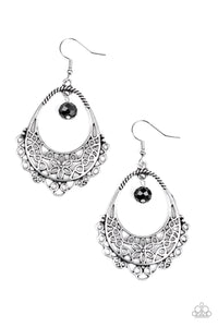 "Paparazzi ""Garden Society"" Black Crystal Like Bead Silver Filigree Hoop Earrings Paparazzi Jewelry"