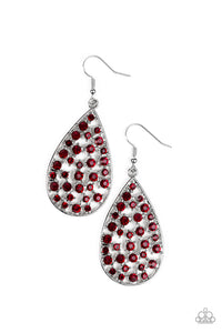 "Paparazzi ""Call Me Ms. Universe"" Red Rhinestone Silver Teardrop Earrings Paparazzi Jewelry"
