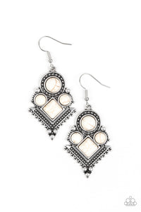"Paparazzi ""So Sonoran"" White Stone Silver Tribal Design Earrings Paparazzi Jewelry"