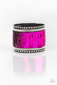 "Paparazzi ""Mermaids Have More Fun!"" Pink 058XX Silver Sequin Suede White RHinestone Wrap Bracelet Paparazzi Jewelry"